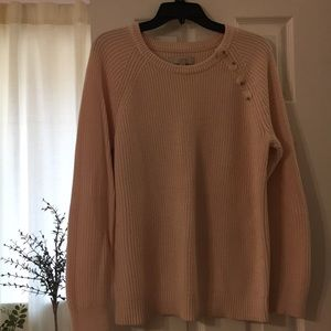Loft pink soft sweater with collar buttons